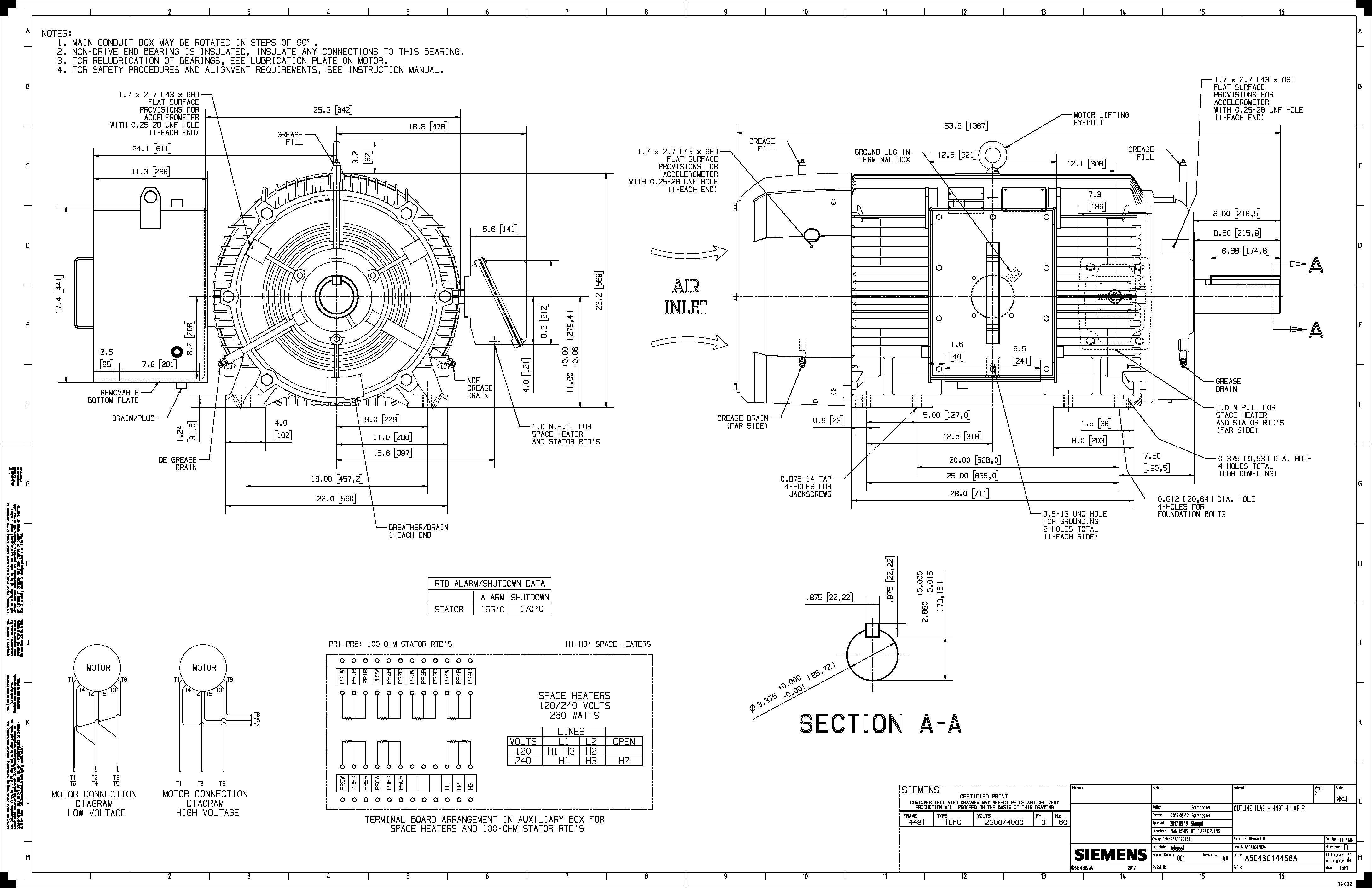 250 Hp 1800 Rpm Siemens Frame 449t Bbtefc 2300 4000v