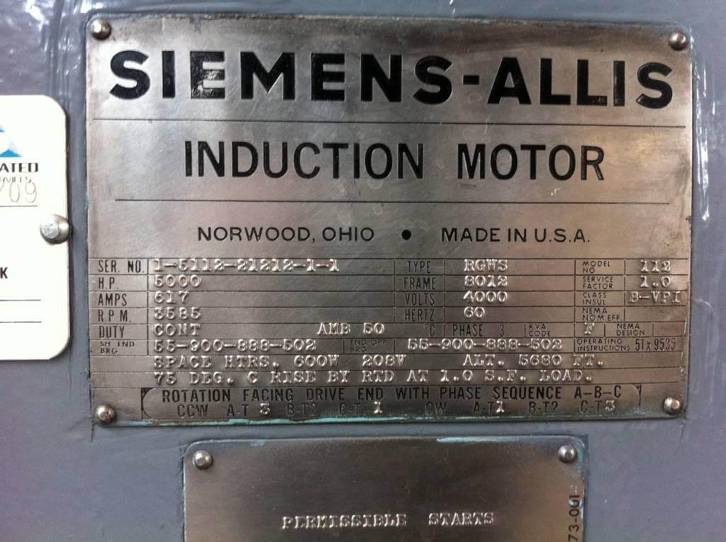 5000 HP, 3600 RPM, SIEMENS-ALLIS, FRAME 8012, SBWPI, 4000V   East