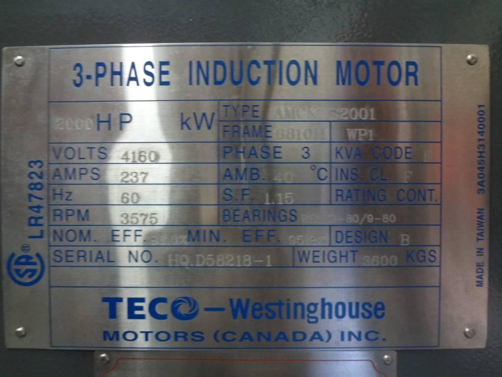2000 Hp 3600 Rpm Teco Frame 6810h Sbwpi 2300 4160v