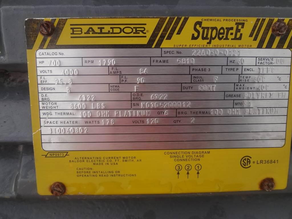700 Hp 1800 Rpm Baldor Frame 5810 Bbtefc 2300 4000v 2 East Motor Wiring Diagram